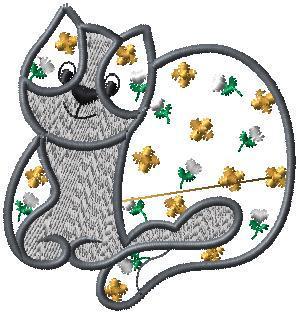 Kočka + kytky