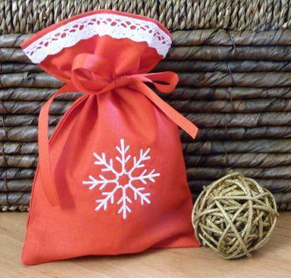 Dárkový pytlík vánoční s krajkou 1
