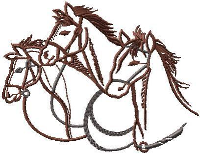 3 koně hlavy